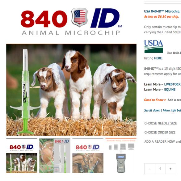 USDA 840 mini microchips.