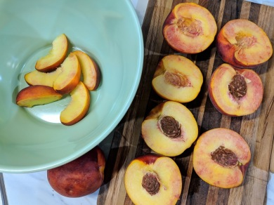 Time to slice the peaches...
