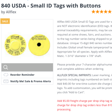 Ordering USDA button tags.